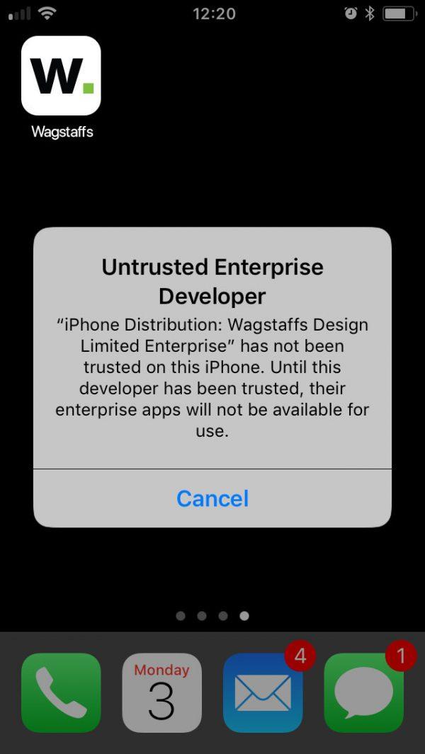 How to trust a Wagstaffs app